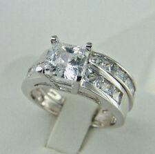 2.50ct Princess cut 14K White Gold Man Made diamond Engagement Ring size 7