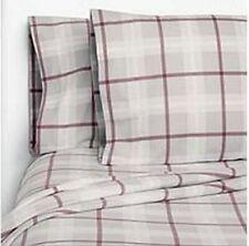Member's Mark 100% Cotton Flannel Sheet Set King Size Grey Red Plaid Design