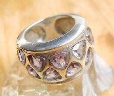 MASSIV Silberring 57 Handarbeit Amethyst Lila Silber Breit Ring Solitär Wrap