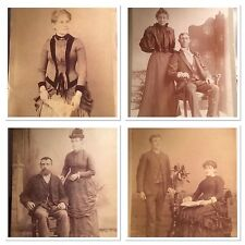Four Victorian Cabinet Cards Selling At One Price. Old Some Damage Display Well