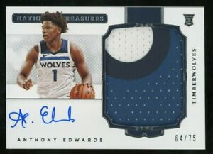 2020-21 National Treasures Anthony Edwards RPA RC Rookie Patch AUTO 64/75