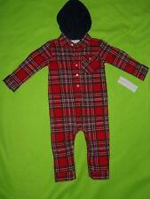 *Nwt~Red Plaid Long sleeve Hooded Jumpsuit~size 9 M ~Msrp $28~by American Living