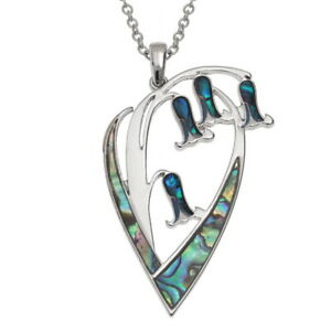 Bluebell Necklace Paua Abalone Shell Pendant Silver Fashion Jewellery Boxed