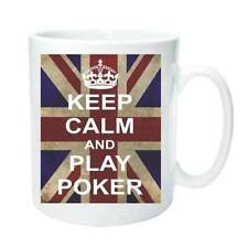 PLAY POKER KEEP CALM AND CARRY ON Novelty Mug Tea Coffee Gift Cup Retro Present