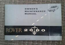 ROVER 2000 Proprietari Manuale Di Manutenzione GRATIS UK