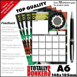 DARTS FUNDRAISING SCRATCH CARDS - WORLD CHAMPION - 20 PLAYERS FREE UK POSTAGE
