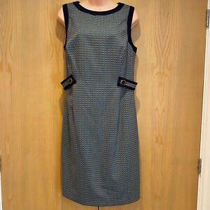 BNWT Hobbs Farrah Dress Size 12 Wool Blend Navy Blue & Green Sleeveless Knee