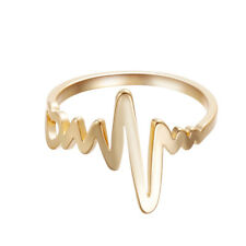 Heart Beat Ring For Lovers Couples Electrocardiogram Rings Simple ECG Party Gift