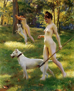 """Julius LeBlanc Stewart - Nymphs Hunting (1898) Nude with Dogs - 17"""" x 22"""" Print"""
