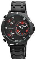 Elite Herrenuhr Schwarz Rot Tripe Time 3 Zeiten Analog Armbanduhr X2800062001