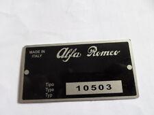 Nameplate Alfa Romeo Shield Tipo 105 10503 Giulia Duetto Spider 1600 S14