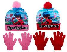 Girls Miraculous Ladybug Woolly Bobble Hat + Gloves Winter Set Kids Xmas Gift