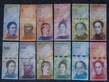 Serie 12 banconote Venezuela: 2 - 20.000 Bolivar 2007 - 2017, UNC = casse freschi
