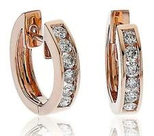 Diamond Huggie Hoop Earrings for Pierced Ears 0.35ct F VS in 18ct Rose Gold