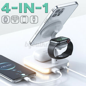 4 in 1 Wireless Charger Charging Dock Station Night Light For iPhone Apple Watch