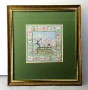 Hand embroidery framed picture Signed and dated. Spring Orchard.