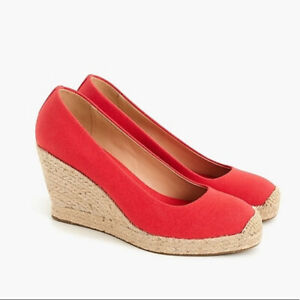 New in Box J Crew Seville Espadrille Wedges in Bright Cerise Size 5