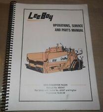 Lee Boy 8510 Conveyor Paver Operators Parts Service Shop Repair Workshop Manual