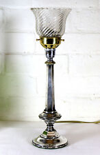 An Antique Silver Plated Table Lamp Ca 1900 - 1920 with Period Glass Lampshade