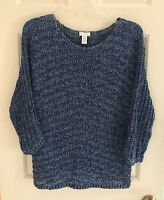 CHICOS KNIT SWEATER BLUE & SILVER CROCHET LOOSE KNIT WITH 3/4 SLEEVE SIZE (1)