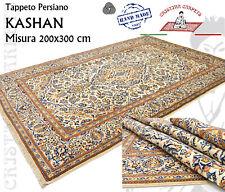 Tappeto Persiano Kashan 200x300cm Floreale Beige Avorio Annodato a mano  W9 W1