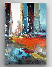 YAKAI 36in Modern Hand-painted Abstract Oil Painting Wall Art Cityscape No Frame
