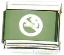 No Smoking Symbol Green 9mm Italian Charm No Cigarettes Sublimation Laser Link