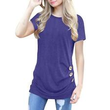 Women Blouse Short Sleeve Casual Button Casual Ladies Summer Tunic T-Shirt Top M