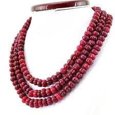 Genuine Red Ruby 932.50 Cts Earth Mined 3 Strand Round Carved Beads Necklace