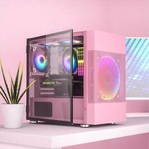 M01 PInk MATX/Mini-ITX/MicroATX Tower Computer Case Glass Door w/ 200mm RGB Fan