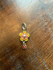 Brighton Flower Charm with Dangling Ladybug Charm