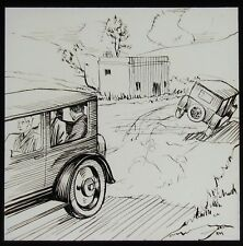 Glass Magic Lantern Slide COMIC SKETCH WITH CAR NO2 C1910 DRAWING