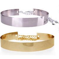 Womens Elastic Mirror Metal Waist Belt Leather Metallic Bling Gold Wide Obi Band