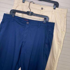 Under Armour Performance Chino Pants Lot of 2 Blue/Tan Cotton Blend Men's 38×27