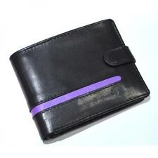 PURPLE Stripe Leather Wallet Button Coin Purse Credit Card Holder Present GIFT