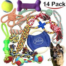 DOG ROPE TOYS FOR AGGRESSIVE CHEWERS – SET OF 14 NEARLY INDESTRUCTIBLE DOG TOY