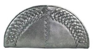 BOTTEGA VENETA $1,980 Metallic Pewter Karung Skin FAN KNOT Clutch Bag
