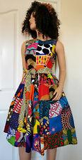 'Patchwork' African Printed Fabric Sleeveless Midi Dress 100%Wax Cotton Handmade