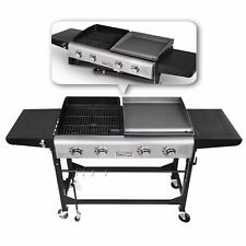 Royal Gourmet BBQ 4 Burner Gas Propane Grill Griddle Combo Camping Foldable
