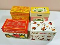 Lot of 4 Vintage Recipe boxes Avon Ohio Art Co. Metal Tin
