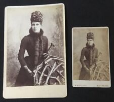 Fab Pair Victorian Cdv + Cabinet Card Woman Umbrella Hat Ivy Leaf Design Fashion