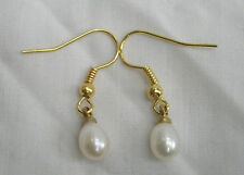 White Japanese Cultured Pearl Drop Earrings