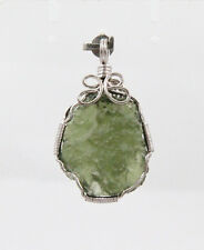 Natural MOLDAVITE round shape pendant 19mm(w) x 23mm(l) - 925 sterling silver