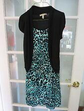 Speechless size 16 girls blue leopard print ruffle flapper dress short sleeve