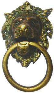 Lion Antique Vintage Finish Handmade Brass Door Knocker Pull Knob Home Decor