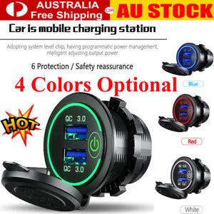 12V/24V Fast Car Charger Socket Outlet QC 3.0 Dual USB Port For Car Truck Boat^^