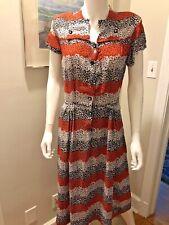 Vintage 1940s Sheer Rayon Print Dress As Is Black Red