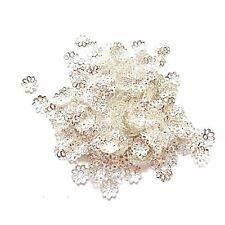 100 Calottes Perles Coupelles Ajouré Fleur plaqué argent 6 mm