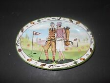 Vintage Italy Golf Trinket Dish Dashing Golfing couple