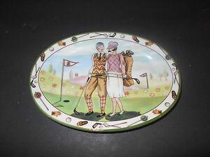 Vintage Italy Golf Trinket Dish Dashing Golfing couple